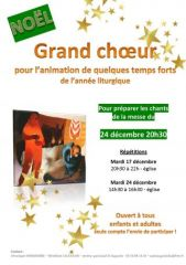 GRAND CHOEURNoël 24/12 - 20h30